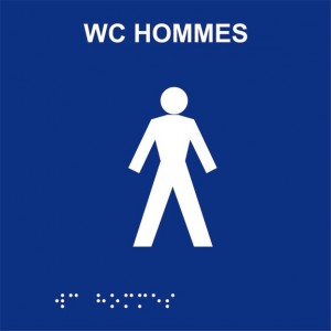 Plaque de porte Braille WC...